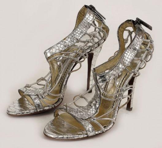 Sarah Jessica Parker's silver snake skin heels by Jonathan Kelsey