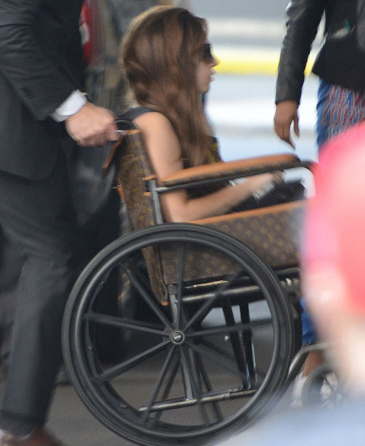 Lady Gaga on Louis Vuitton Wheelchair