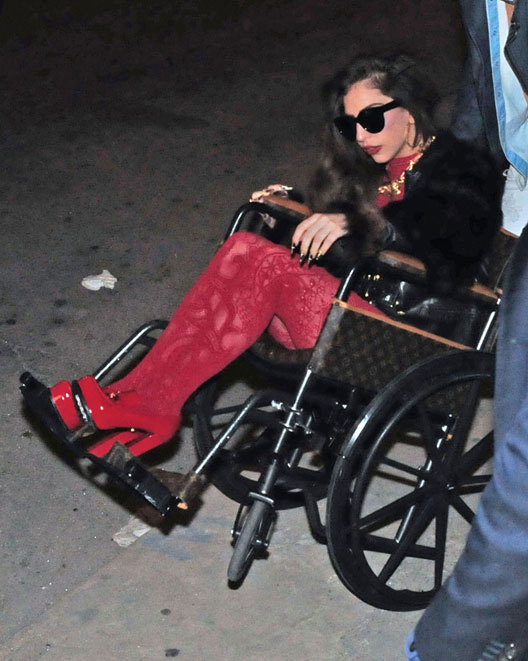 Lady Gaga rolled up for her 27th celebration in Chicago in a Louis Vuitton wheelchair