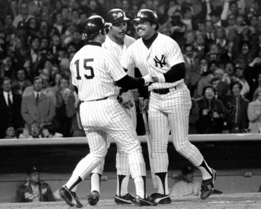 New York Yankees' Thurman Munson, Chris Chambliss and Reggie Jackson