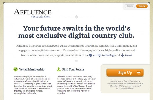 Affluence.org - The Social Network of the Rich and Famous