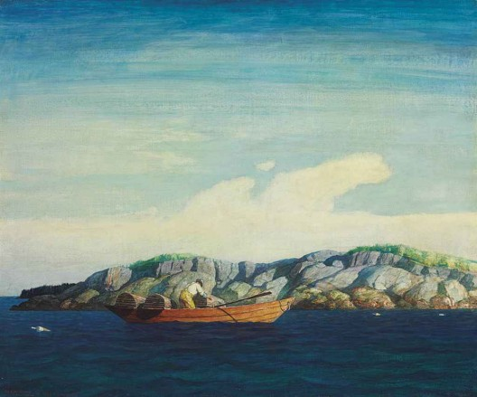 Norry Seavey Hauling Traps off Blubber Island by Newell Convers Wyeth