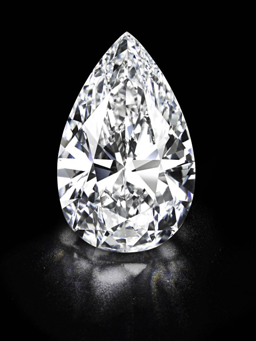 101.73 carat colourless pear-shaped diamond - the world's largest flawless diamond