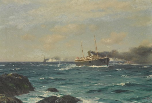 Thomas Jacques Somerscales' The S.S. Ortega entering the straits of Nelson with the S.M.S. Dresden in pursuit