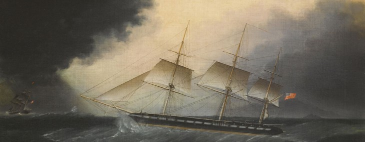 James Edward Buttersworth's An American frigate in a storm