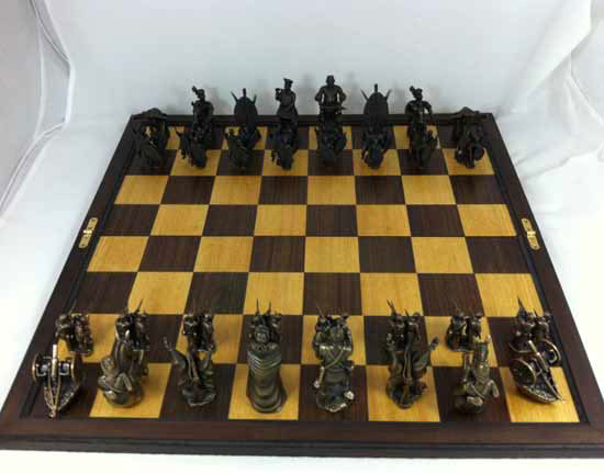 Anglo-Zulu Brass War Chess Set by LittleHand