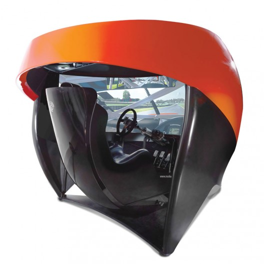 """This is the only racing simulator with a 180°, 106""""-wide HD screen that immerses the driver in a high-speed virtual car race of unparalleled realism"""