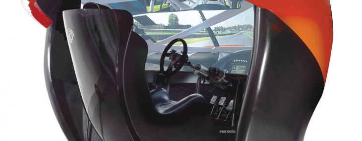"This is the only racing simulator with a 180°, 106""-wide HD screen that immerses the driver in a high-speed virtual car race of unparalleled realism"