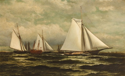 William Bradford's The Goelet Prize for sloop yachts with Gracie in the lead