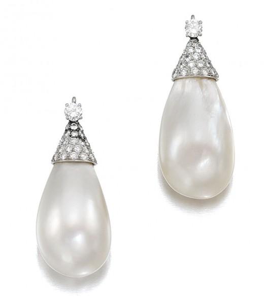 pair of diamond and natural pearl earrings