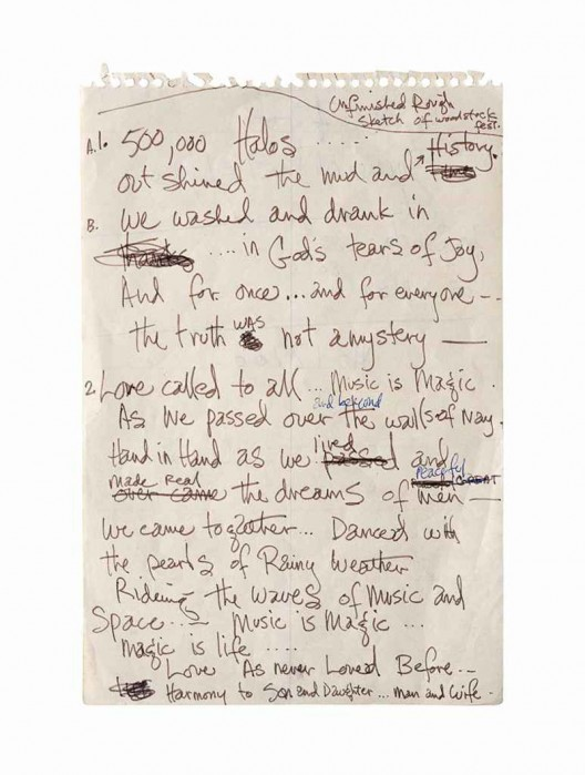 A page of notes in Jimi Hendrix's hand titled Unfinished Rough Sketch of Woodstock Festival