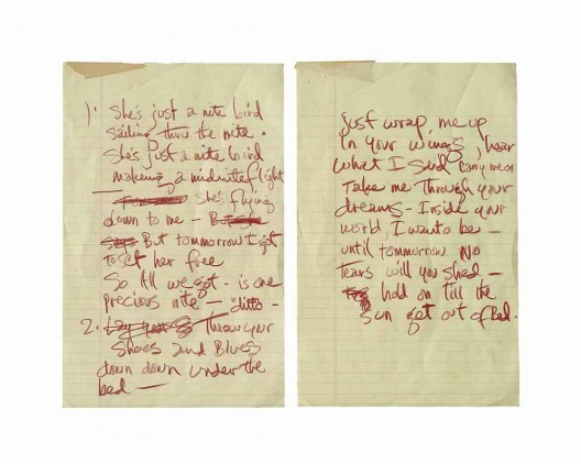 A set of handwritten complete working lyrics in Jimi Hendrix's hand for the song Night Bird Flying