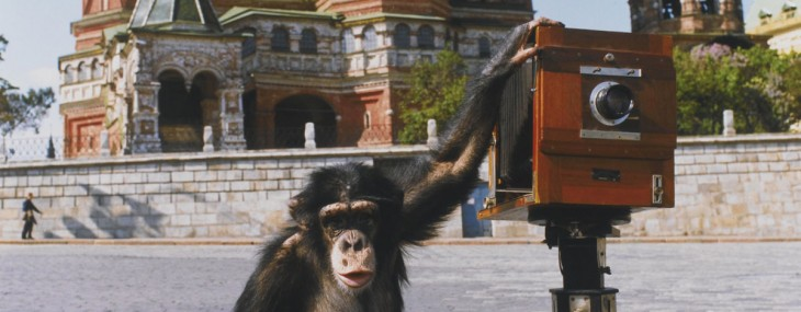 Circus chimpanzee Mikki poses next to his camera in Moscow's Red Square