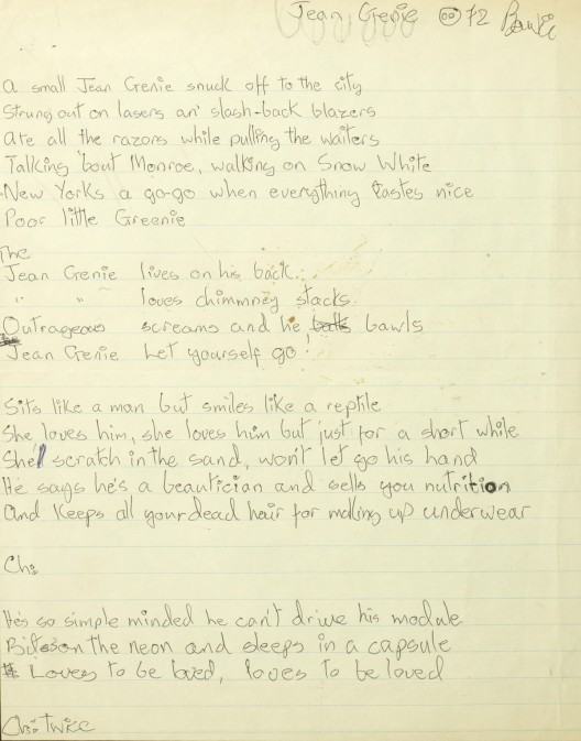 David Bowie's rare set of handwritten lyrics for The Jean Genie