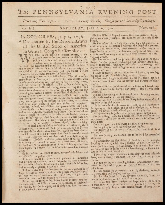 First Newspaper Printing of Declaration of Independence Expected to Sell for $2 Million at Auction