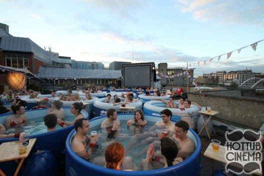 Watch movies while soaking in a hot tub on a rooftop in London