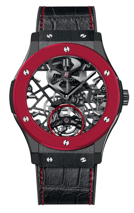 Hublot Red'n'Black Skeleton Tourbillon paying tribute to the red of Monaco for Only Watch 2013 - exhibits the same qualities as black or white ceramic.