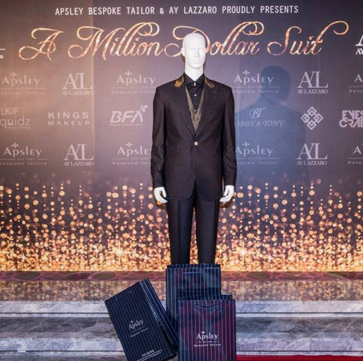 With 22-carat gold stitching, a gold waistcoat and diamond-encrusted gold buttons, the one-off was sold on May 29 for HK$1 million (US$129,000)