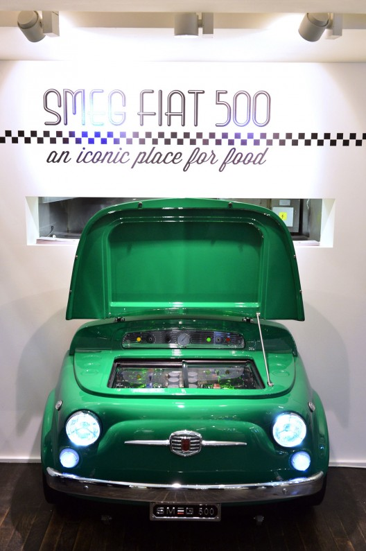The SMEG 500 takes the diminutive Italian motoring icon of the late 1950s and 60s, chops it in half and turns the front storage compartment into an Energy Class A+ rated chest refrigerator