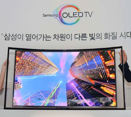 Samsung unveils 55-inch curved OLED HDTV in Seoul, Korea