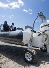 Designed to ease the transition between land and sea, a Sealegs boat features retractable wheels that allow you to drive right into the water