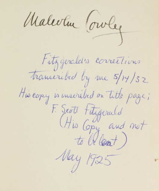 The copy of The Great Gatsby once belonged to the critic and author Malcolm Cowley
