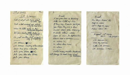 Set of complete handwritten lyrics in Jim Morrison's hand for the Doors song L.A. Woman