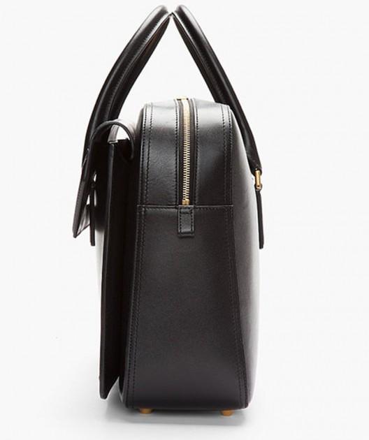 elegant black leather heroine laptop briefcase