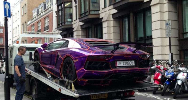 A 450 000 Purple Lamborghini Aventador Could Be Destroyed