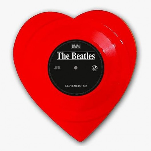 "The Beatles' ""Love Me Do"" limited-edition heart-shaped red vinyl"