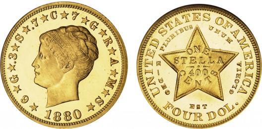 1880 $4 Stella Coiled Hair Cameo coin