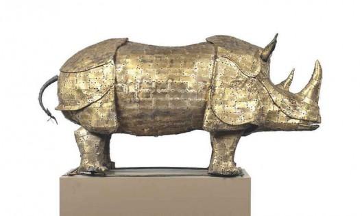 Brass-Sculpture-of-a-Rhinoceros