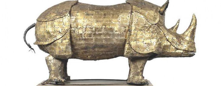 Brass-Sculpture-of-a-Rhinoceros