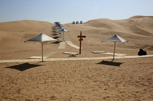 The Desert Lotus Hotel emerges in the middle of the Mongolian Desert