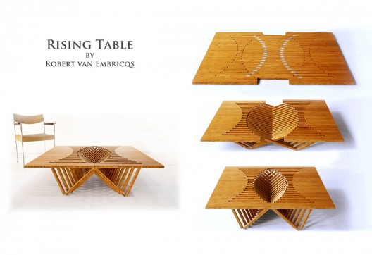 Designer Robert van Embricqs presenting his new creation, the Rising Furniture