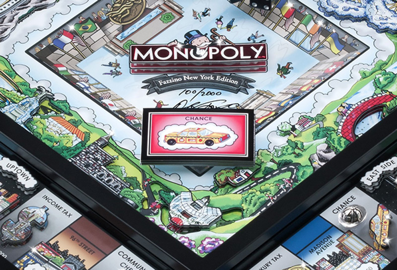 American pop artist Charles Fazzino gives the classic Monopoly board game an NYC-themed 3D facelift