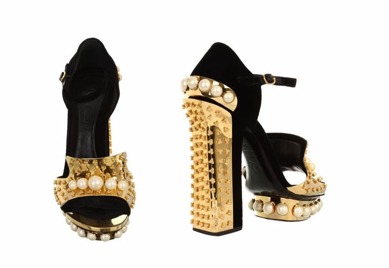 Alexander McQueen Pearl and Metal Block Heel Sandal