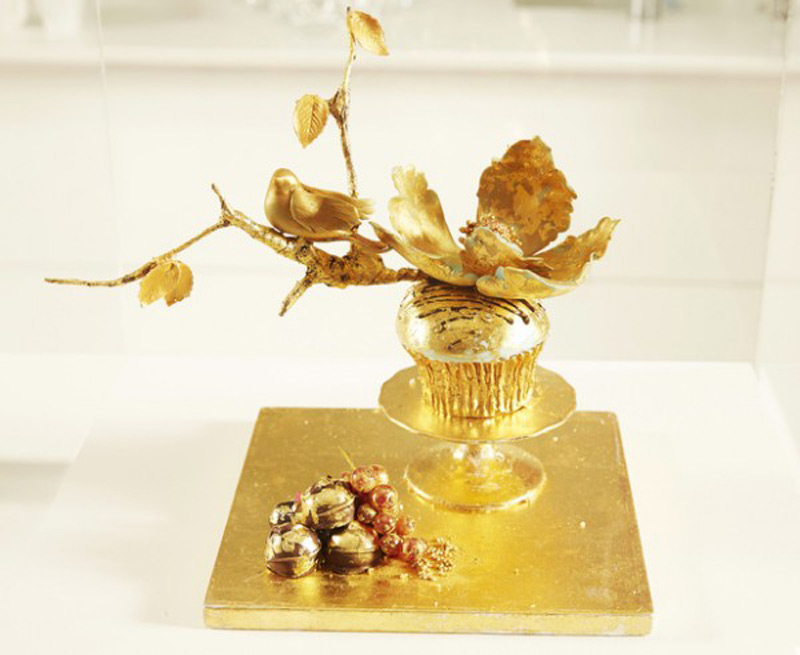 The world's most expensive cupcake with 24 carat gold leaf worth $1200 goes on display