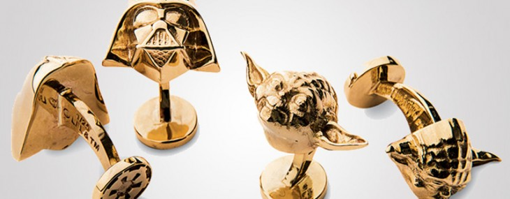 Gold Darth Vader and Yoda cufflinks by Neiman Marcus for Star Wars Fans