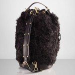 Ralph Lauren Black Shearling Duffle Bag