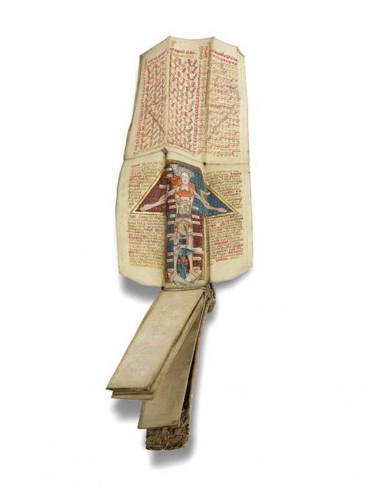 an_english_folding_almanac_in_latin_illuminated_manuscript_on_vellum