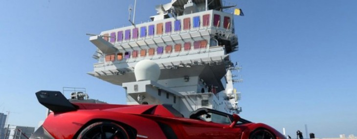 Lamborghini Veneno Roadster makes a stunning debut on an aircraft carrier in Abu Dhabi