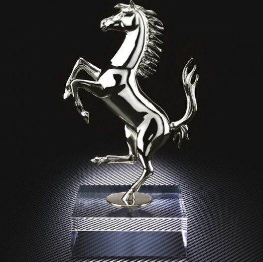 A limited edition silver Prancing Horse sculpture for the ultimate Ferrari fan