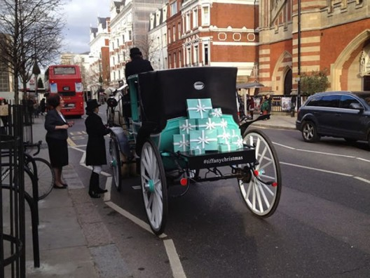 TIFFANY AND CO. SPREADS THE CHEER WITH THEIR CHRISTMAS CARRIAGE ACROSS LONDON FROM BOND STREET TO HARRODS