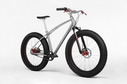 Fat tires and a titanium frame makes this Budnitz Bicycle glide over snow