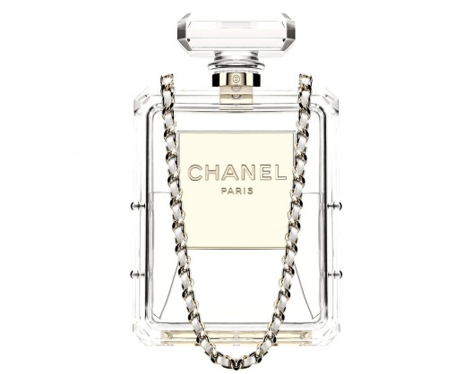 Chanel's reinterpretation of its classic No.5 perfume bottle as a clear, plexiglass clutch holds all the promise of a seasonal hit