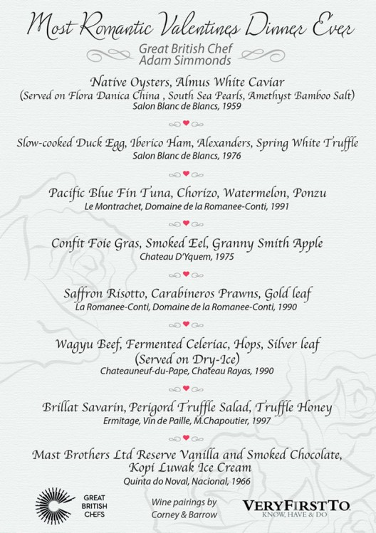 Worlds most expensive Valentines day dinner costs $100k includes rare wines, white caviar, gold leaf and a lot more