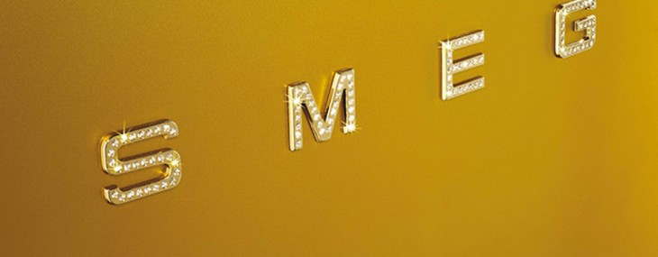 Swarovski studded Smeg's Gold Retro fridge is home adornment
