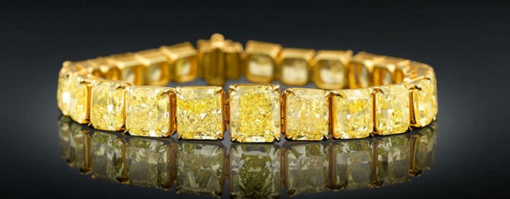 $2,5 Million for Natural Fancy Vivid Yellow Diamond Tennis Bracelet