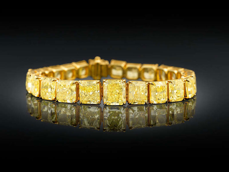 $2 5 Million for Natural Fancy Vivid Yellow Diamond Tennis